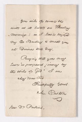 Moses Caston letter to Justin Perkins, 1861 January 12