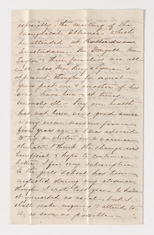 Mary C. Lyman letter to Justin Perkins, 1867 November 25 and 28