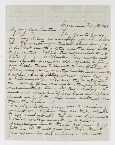 Isaac Grout Bliss letter to Justin Perkins, 1848 February 7
