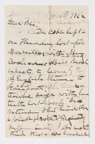 Isaac Grout Bliss letter to Justin Perkins, 1862 November 10