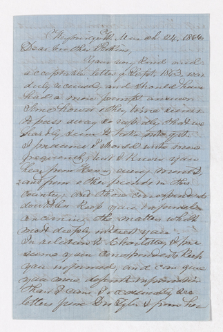 Samuel Woodworth Cozzens letter to Justin Perkins, 1864 March 24