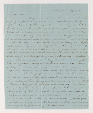 Sarah Bass Crehore letter to Charlotte Bass Perkins, 1850 March 4