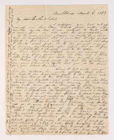 Abby Bass Cozzens letter to Justin and Charlotte Bass Perkins, 1837 March 5