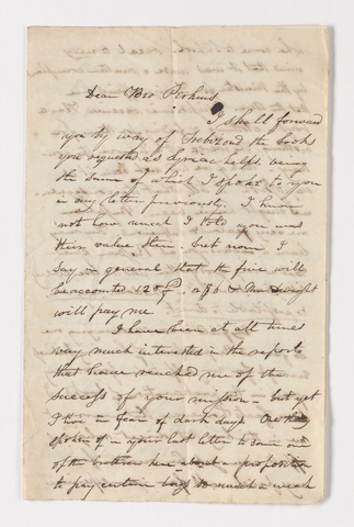 Henry Augustus Homes letter to Justin Perkins, 1836 August 19