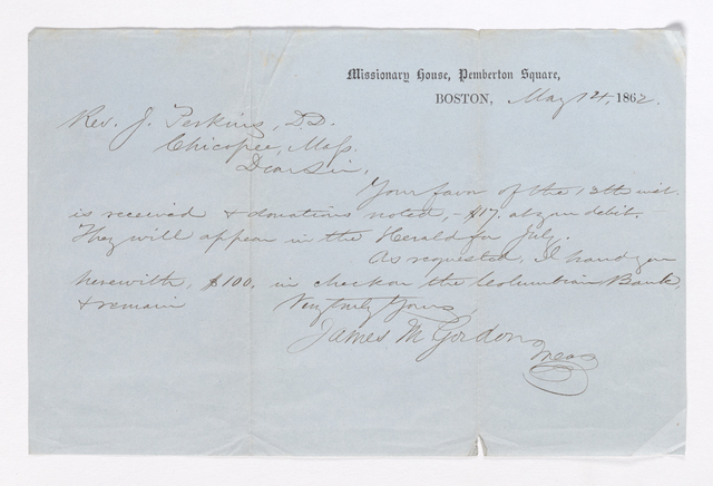 James M. Gordon letter to Justin Perkins, 1862 May 14