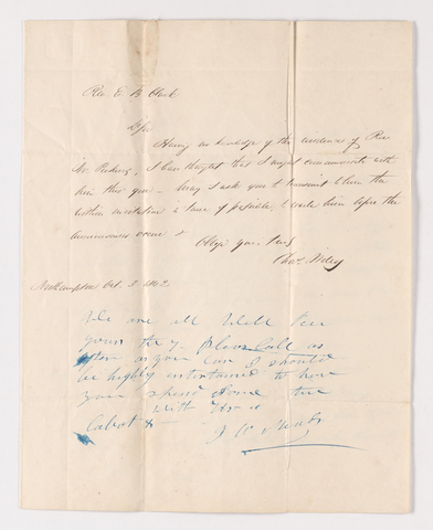 Charles Wiley letter to Justin Perkins, 1862 October 3