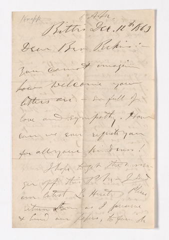 George C. Knapp letter to Justin Perkins, 1863 December 12