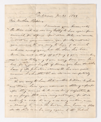 William C. Jackson letter to Justin Perkins, 1839 January 21