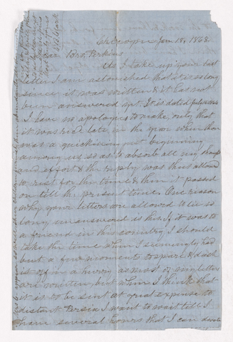Eli Benedict Clark letter to Justin Perkins, 1868 January 18