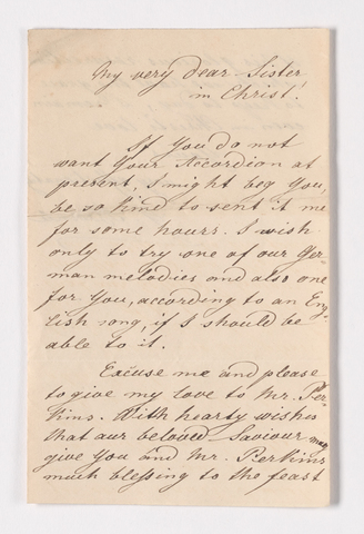 Christian Gottlieb Hoernle letter to Charlotte Bass Perkins