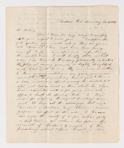 Daniel T. Lane letter to Justin Perkins, 1829 December 9