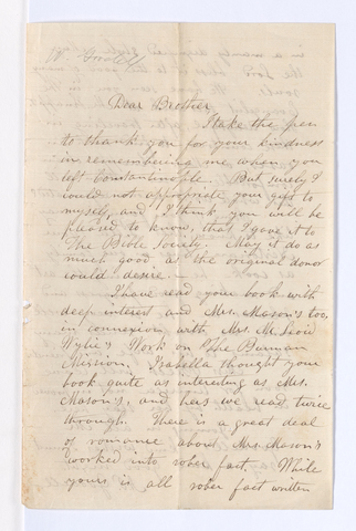 Abigail Perkins and William Goodell letter to Justin Perkins, 1863 March 3
