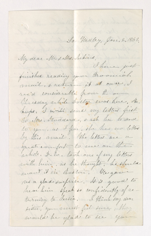 Fidelia Fiske letter to Charlotte Bass and Justin Perkins, 1862 January 2