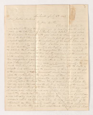 Chauncey Eddy letter to Justin Perkins, 1842 July 8