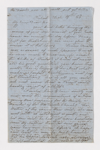 Julia Perkins Mead letter to Justin Perkins, 1863 February 19