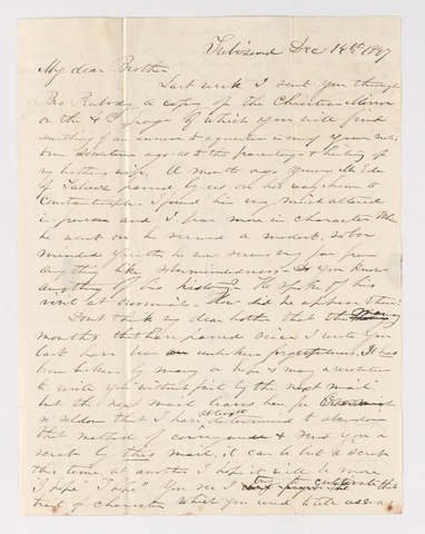 Edwin Elisha Bliss letter to Justin Perkins, 1847 December 14