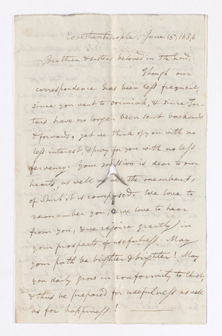 William Goodell letter to Charlotte Bass and Justin Perkins, 1836 June 15