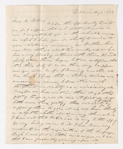 William C. Jackson letter to Justin Perkins, 1837 May 4