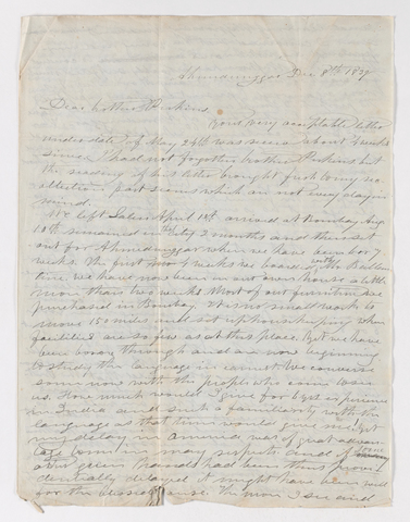 Ebenezer Burgess letter to Justin Perkins with Mary Burgess letter to Charlotte Bass Perkins and Jerusha Emily Gilbert Stocking, 1839 December 8