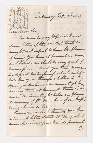 Keith Edward Abbott letter to Justin Perkins, 1863 February 7