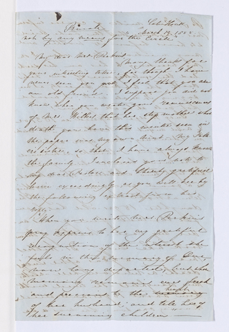 Hannah W. Lyman letter to Charlotte Bass Perkins, 1855 March 19