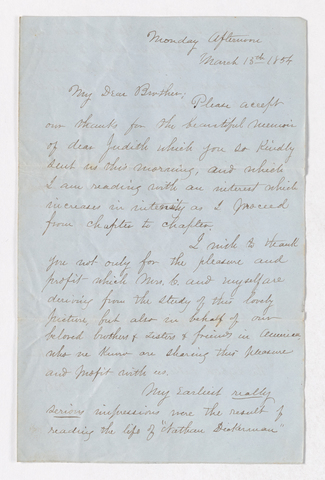 Edwin H. Crane letter to Justin Perkins, 1854 March 13
