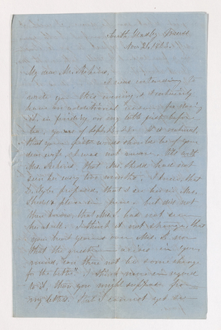 Fidelia Fiske letter to Justin Perkins, 1863 November 21 to December 7