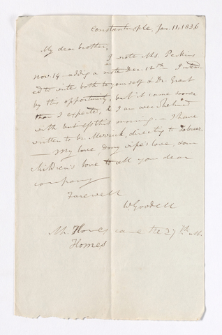William Goodell letter to Justin Perkins, 1836 January 11