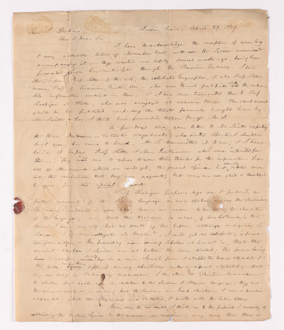 Edward Robinson letter to Justin Perkins, 1839 April 29