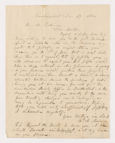 William Augustus Stearns letter to Justin Perkins, 1842 December 29