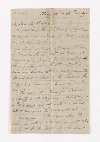 James Pringle Riach letter to Justin Perkins, March 19