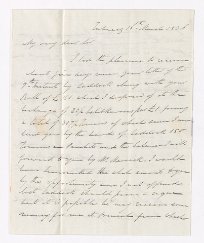 Alexander Nisbet letter to Justin Perkins, 1836 March 16