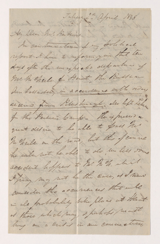 James Pringle Riach letter to Justin Perkins, 1838 April 2