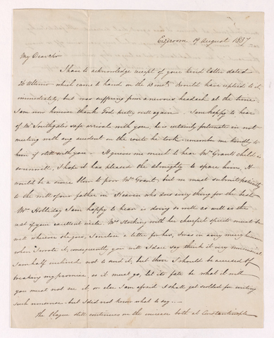 Edward Zohrab letter to Justin Perkins, 1837 August 19