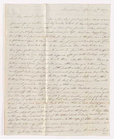 Charlotte Bass Perkins letter to Justin Perkins, 1842 April 23 to 26