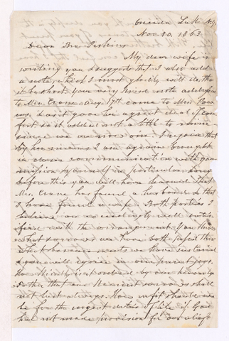 Philander Oliver Powers letter to Justin Perkins, 1863 November 30