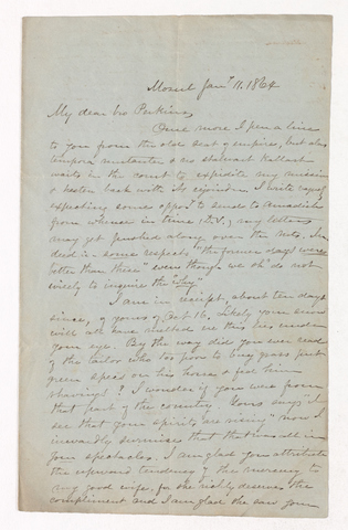 William Frederic Williams letter to Justin Perkins, 1864 January 11