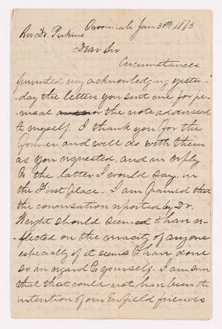 Benjamin Labaree letter to Justin Perkins, 1863 January 30