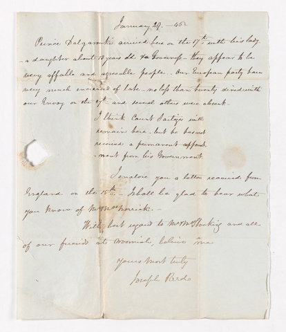 Joseph Reed letter to Justin Perkins, 1846 January 29