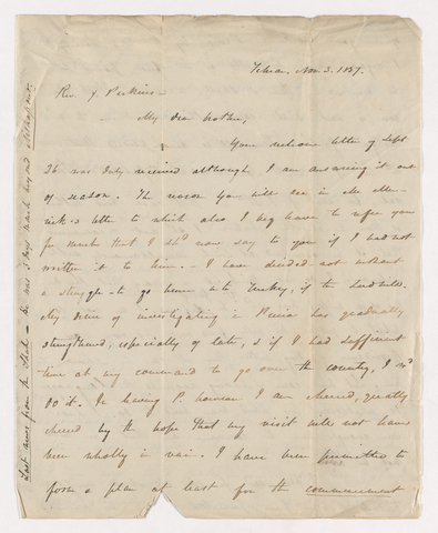 Horatio Southgate letter to Justin Perkins, 1837 November 3