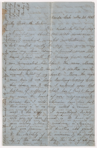 Ann Eliza Crane Powers letter to Justin Perkins, 1863 November 26 to 31