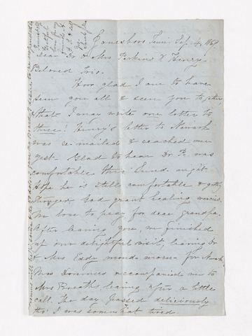 Sarah Jane Foster Rhea letter to Justin, Charlotte Bass, and Henry Martyn Perkins, 1869 September 4