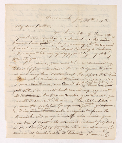 Justin Perkins letter to Ebenezer Burgess, 1837 July 27