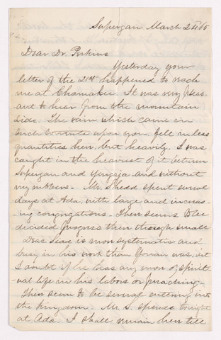 Benjamin Labaree letter to Justin Perkins, 1865 March 24