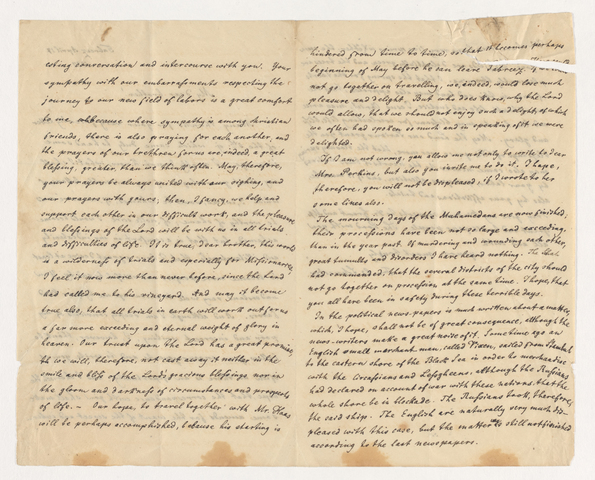 Frederic Edward Schneider letter to Justin Perkins, 1837 April 17