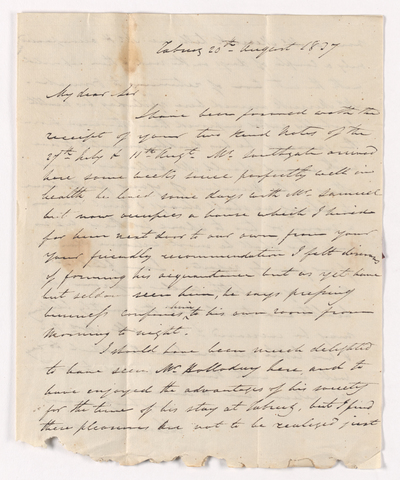 Alexander Nisbet letter to Justin Perkins, 1837 August 20