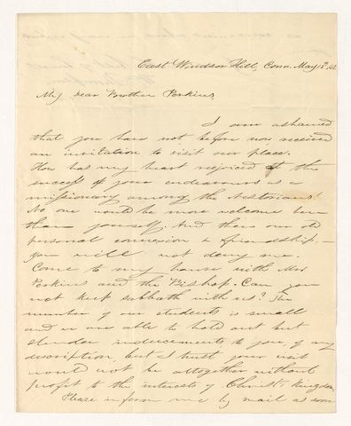 William Howe Thompson letter to Justin Perkins, 1842 May 13