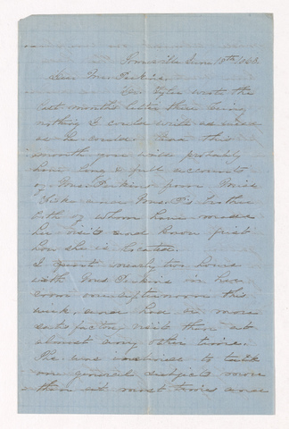 Augusta Maria Denny Tyler letter to Justin Perkins, 1863 June 18