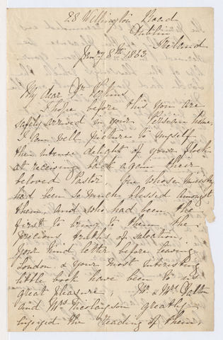 Anne J. Shea letter to Justin Perkins, 1863 January 8