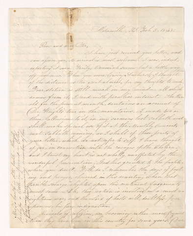 Timothy Alden Taylor letter to Justin Perkins, 1848 February 3